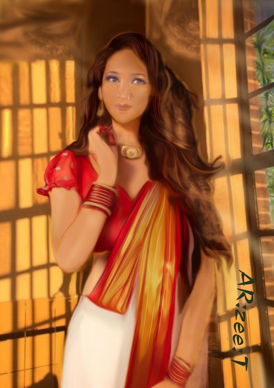 Portrait of one of my good friend Illust of Ar:Zee:T medibangpaint girl portrait digital illustration dress red