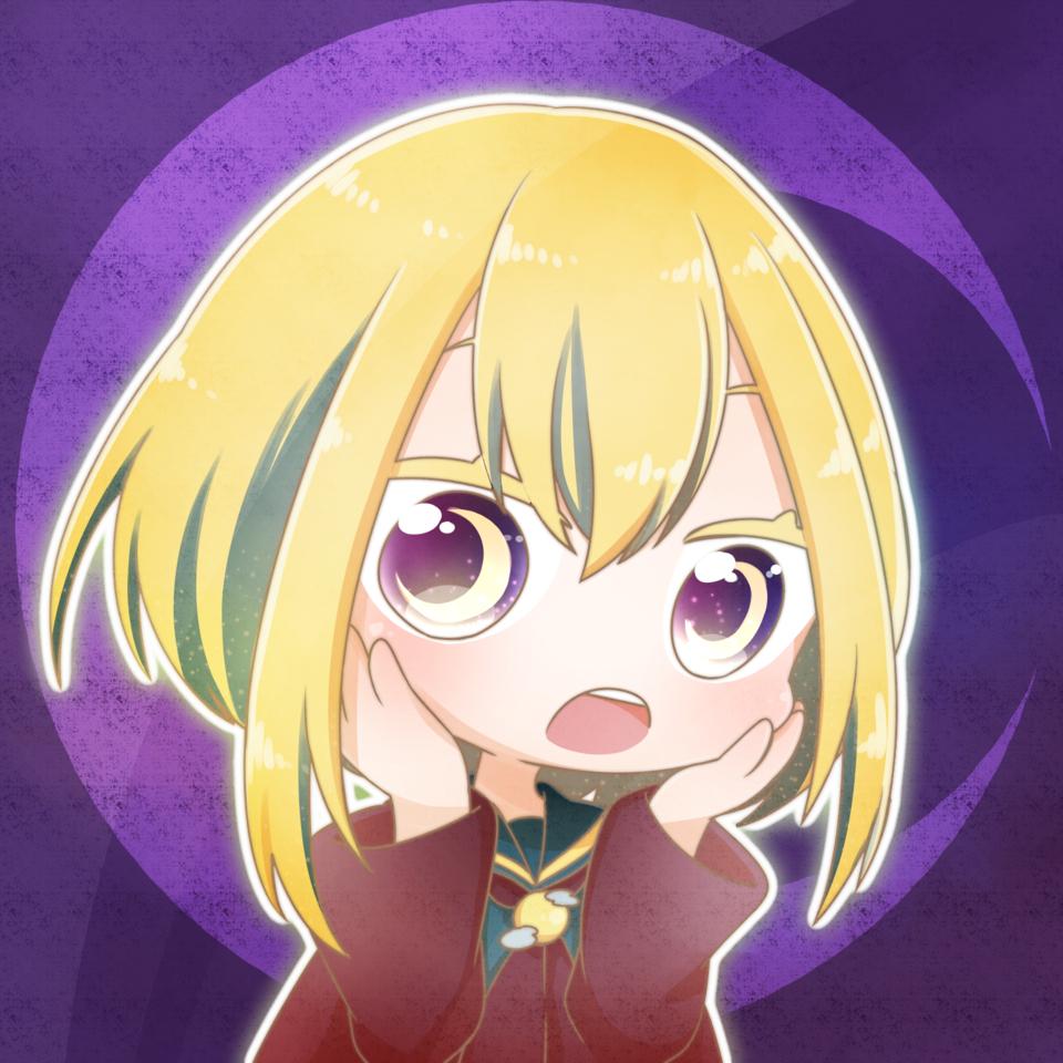 【フリーアイコン】! Illust of 伽 バミューダトライアングル freeprofilepic chibi girl フリーアイコン moon