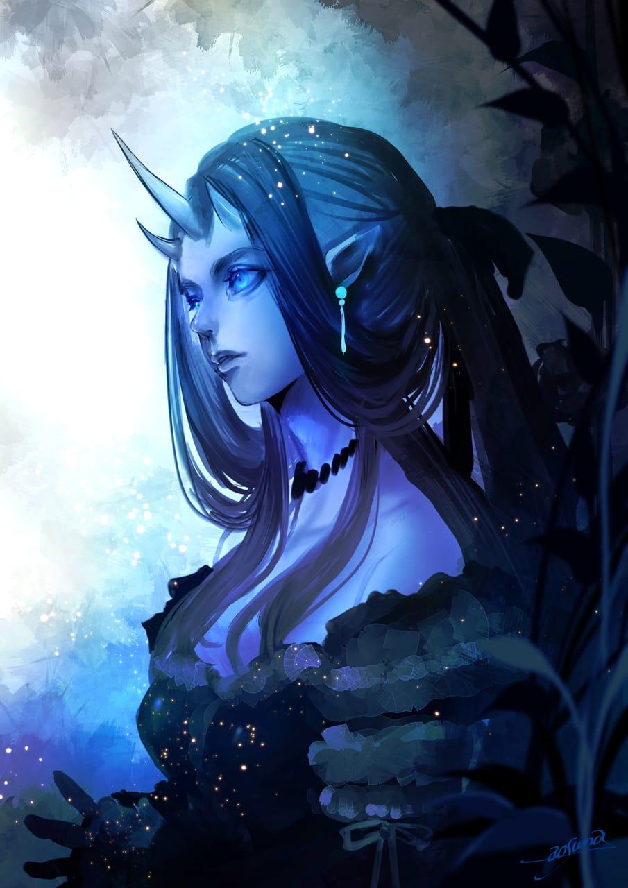 闇薫 Illust of 青砂時計 June2021_Anthropomorphism horn blue oc original ファンタジーキャラ