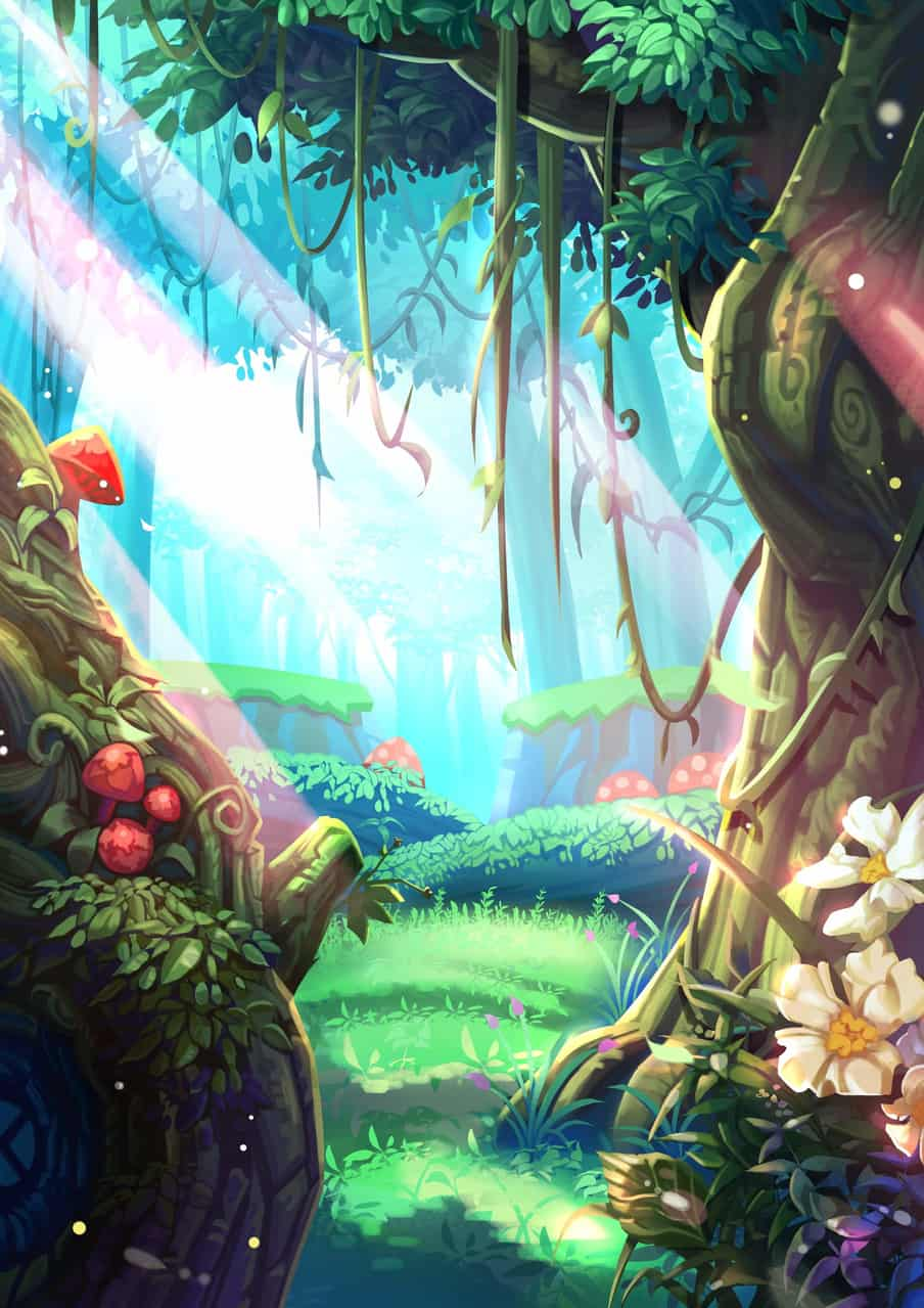 forest Illust of Mei green forest tree background