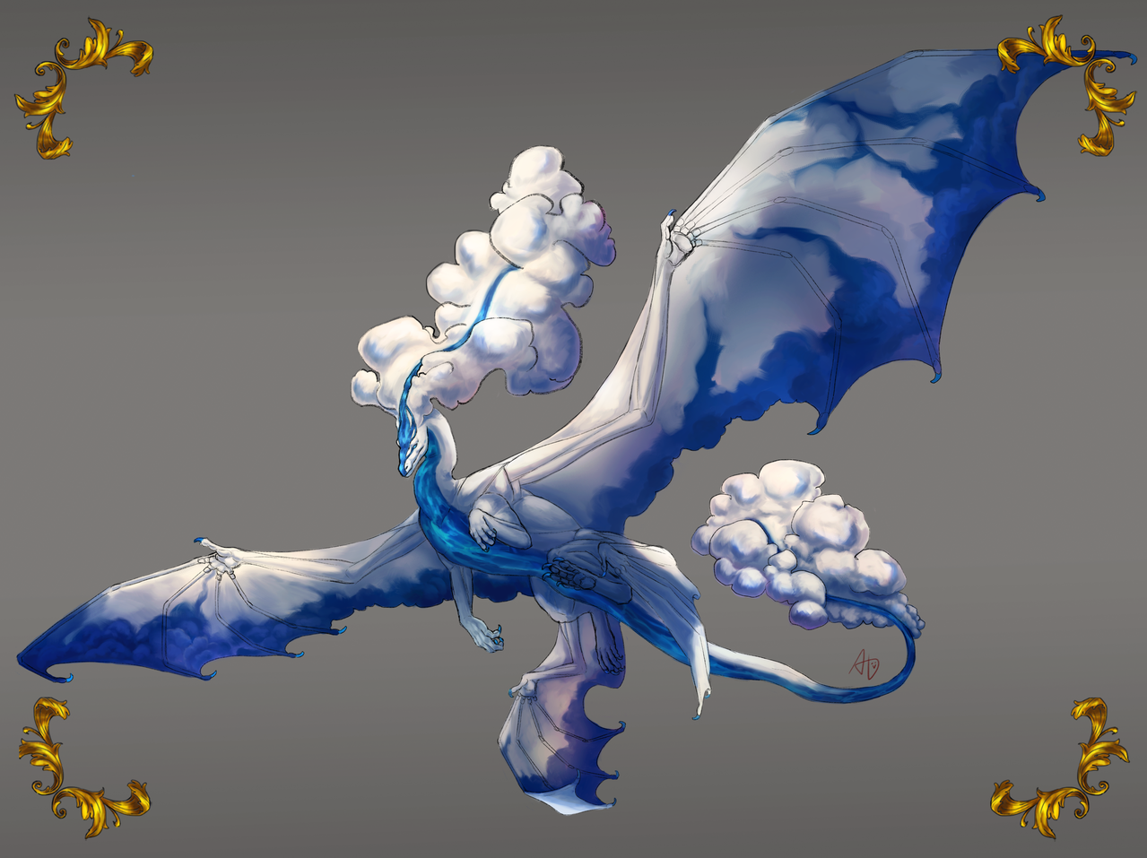 Dragon Design - River In The Clouds Illust of Revontulis fantasy January2021_Contest:OC dragon rivers characterdesign clouds digital illustration creature design