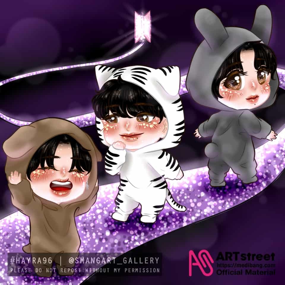 Prepare for Ne Era Illust of Hayra96 tracedrawing3rd Artwork chibi smangartgallery Taehyung Jimin BTS hayra96 Trace&Draw【Official】 Jungkook