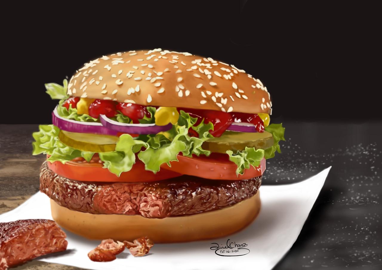 Burger I like it! Illust of smartboy October2020_Contest:Food burger, Food, ipadsketch