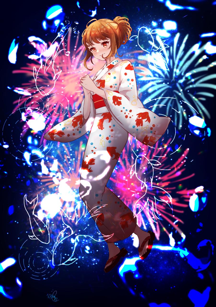 夏の音 Illust of ちびろぅё!!あっとまきゅん summer kimono goldfish 花火 girl cutegirl background