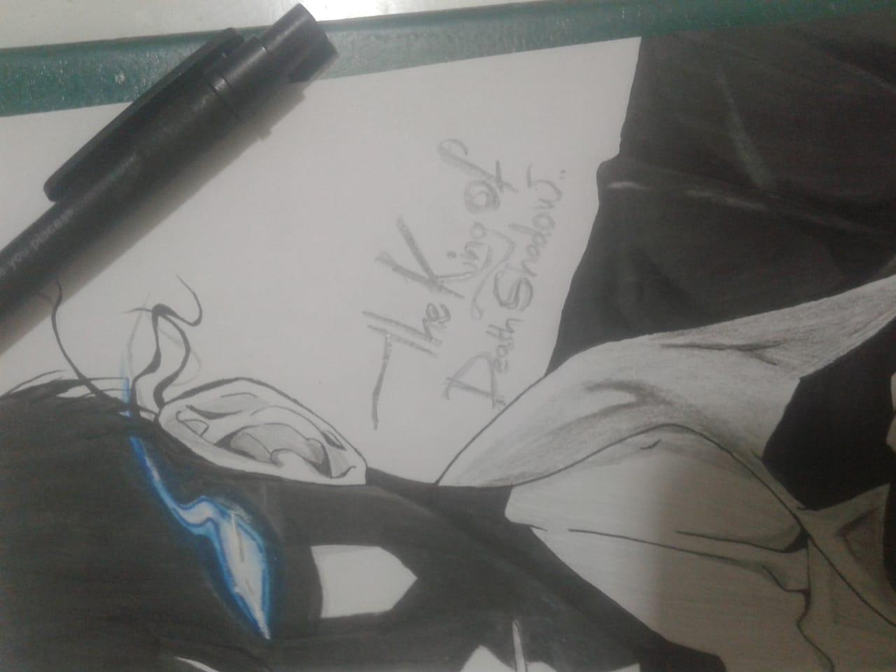 Only i level up (solo levelling ) !! Illust of Ninestar619 AnalogDrawing monochrome anime Soungjinwoo onlyIlevelup detective original TheKingOfDeathShadow Ninestar619