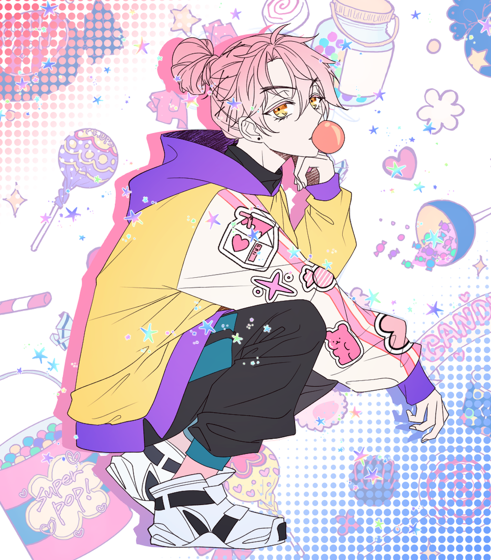 oc doodle Illust of 십삼 풍선껌 girl pinkhair oc
