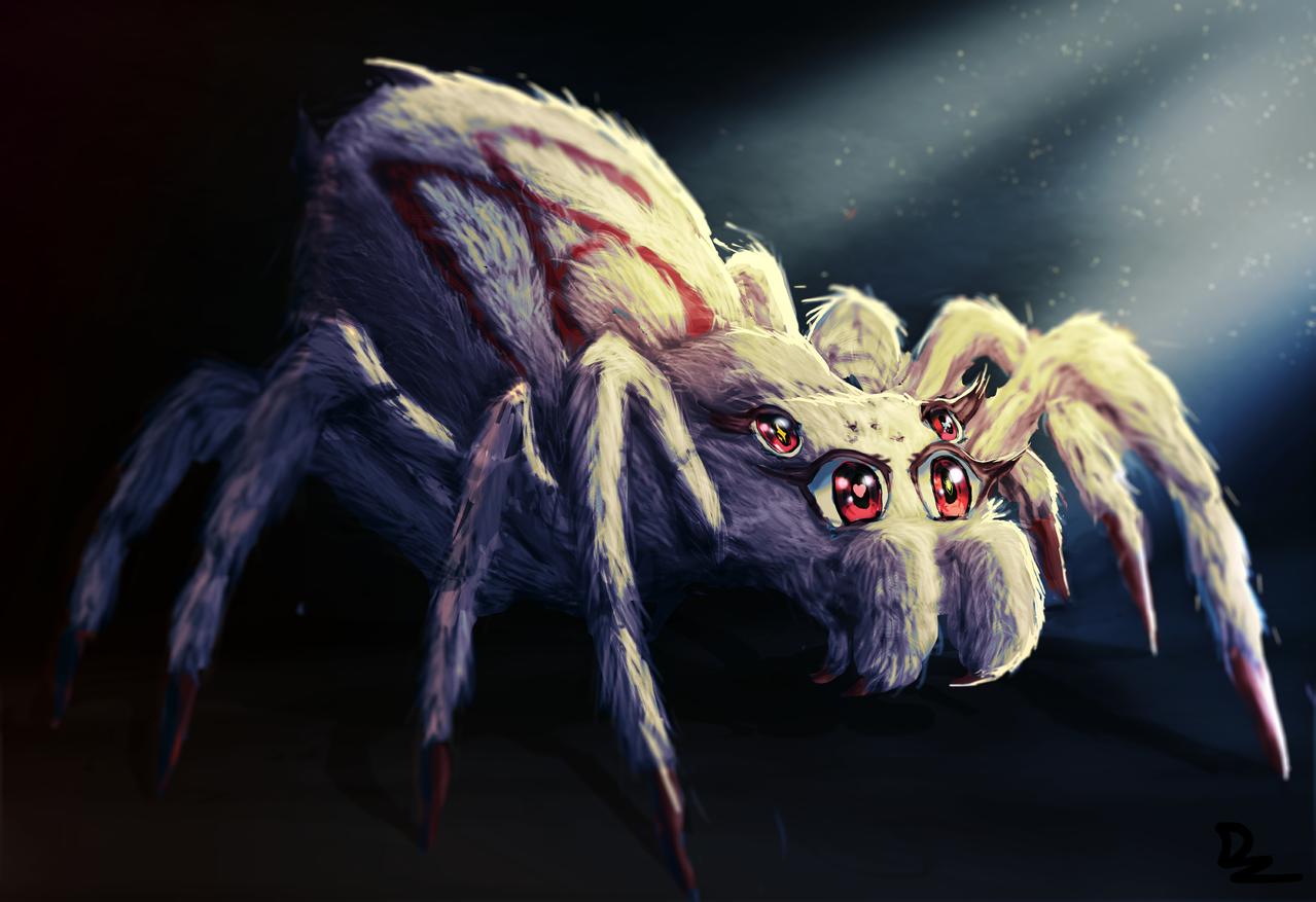 ArachnaMah Illust of D'zaky March2021_Creature spider female Arachnid mother feminine monster tarantula animeeyes creature