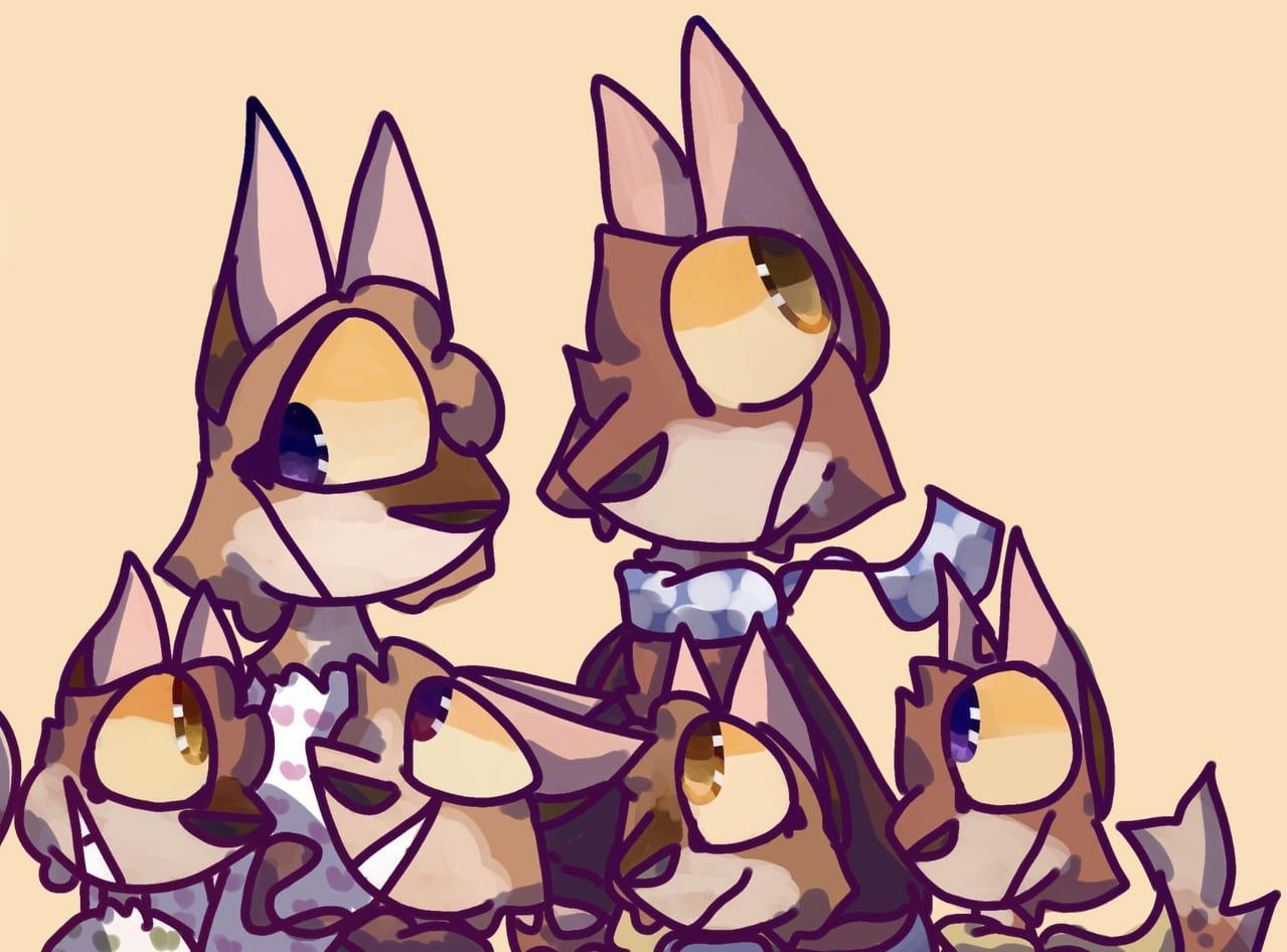 something for school.. Illust of cat on ø Orange yellow fox purple foxes