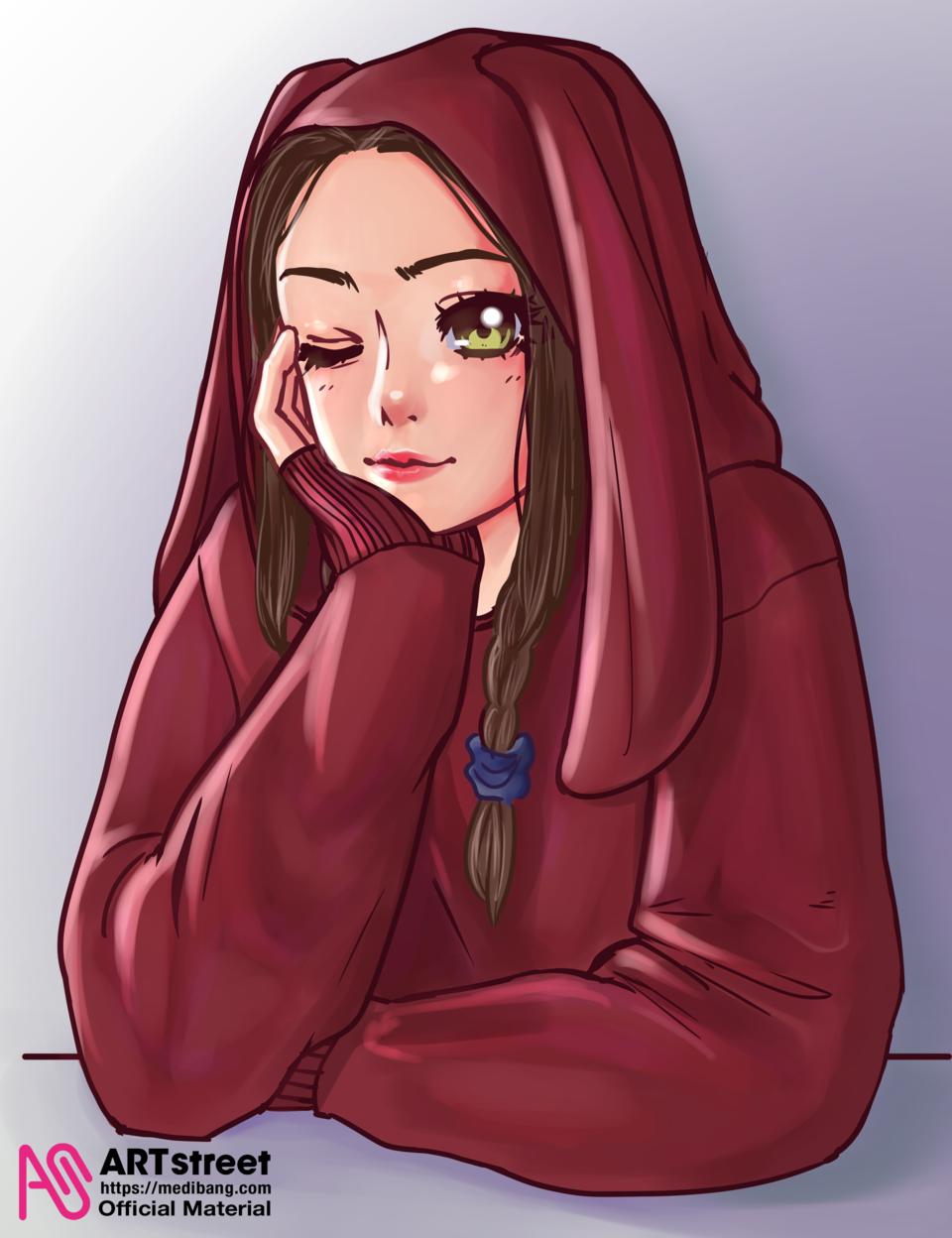 Girl in Hoodie Illust of veart tracedrawing4th Trace&Draw【Official】 medibangpaint cute girl hoodie cutegirl