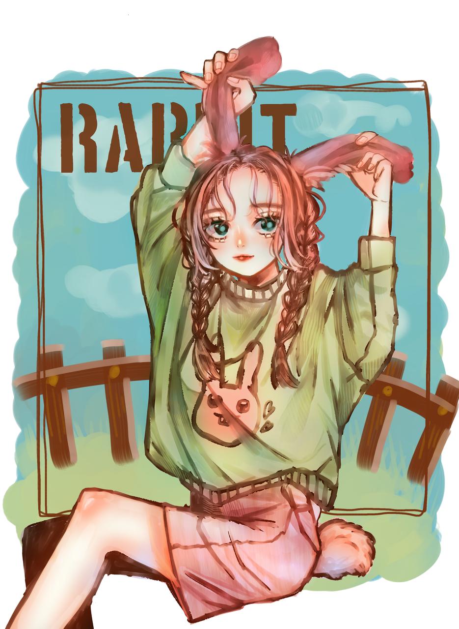 RABBIT! Illust of 山田ピピちゃん September2020_Contest:Furry medibangpaint girl グリザイユ original