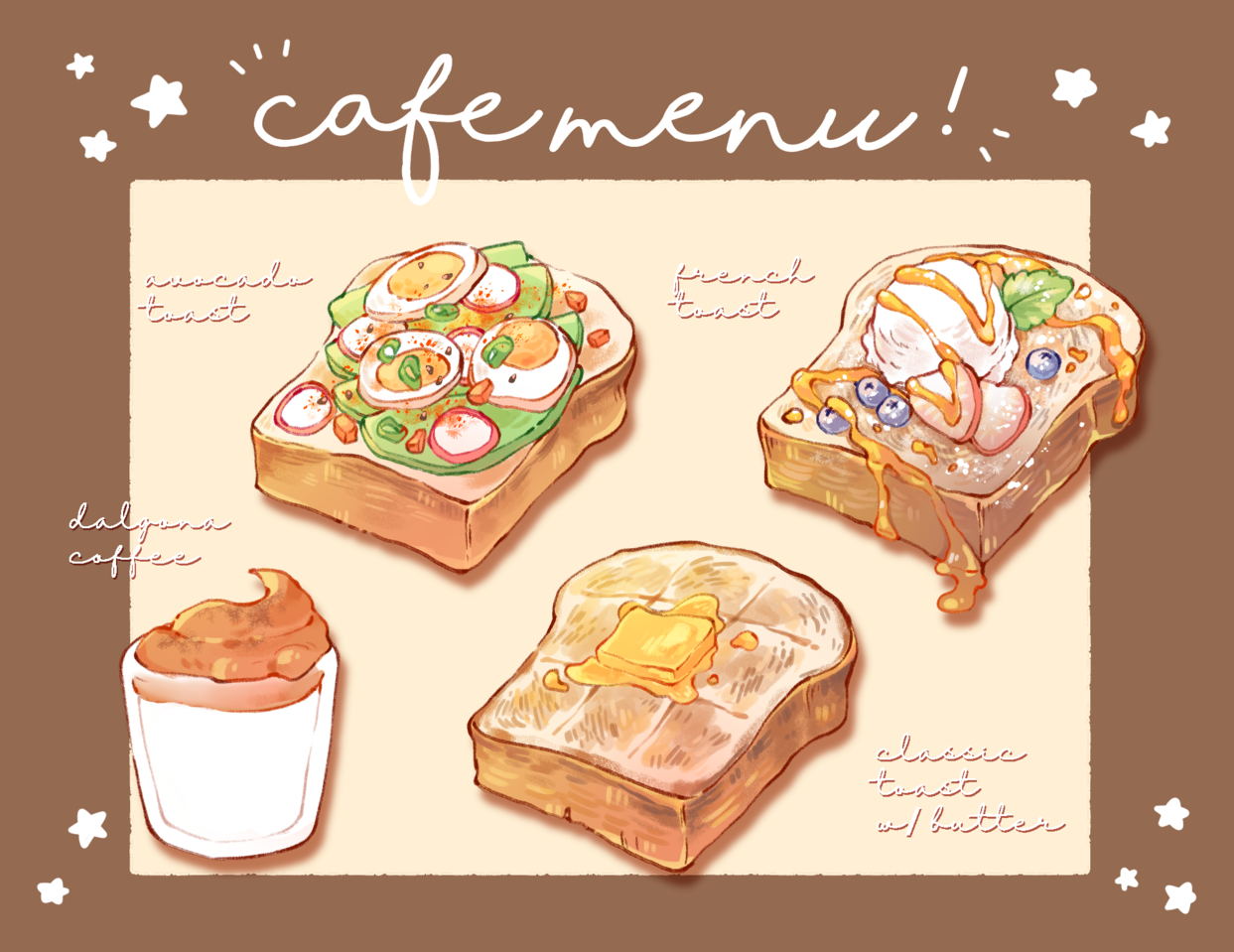cafe menu! Illust of nata October2020_Contest:Food food medibangpaint bread coffee digital foodillustrations menu cafe