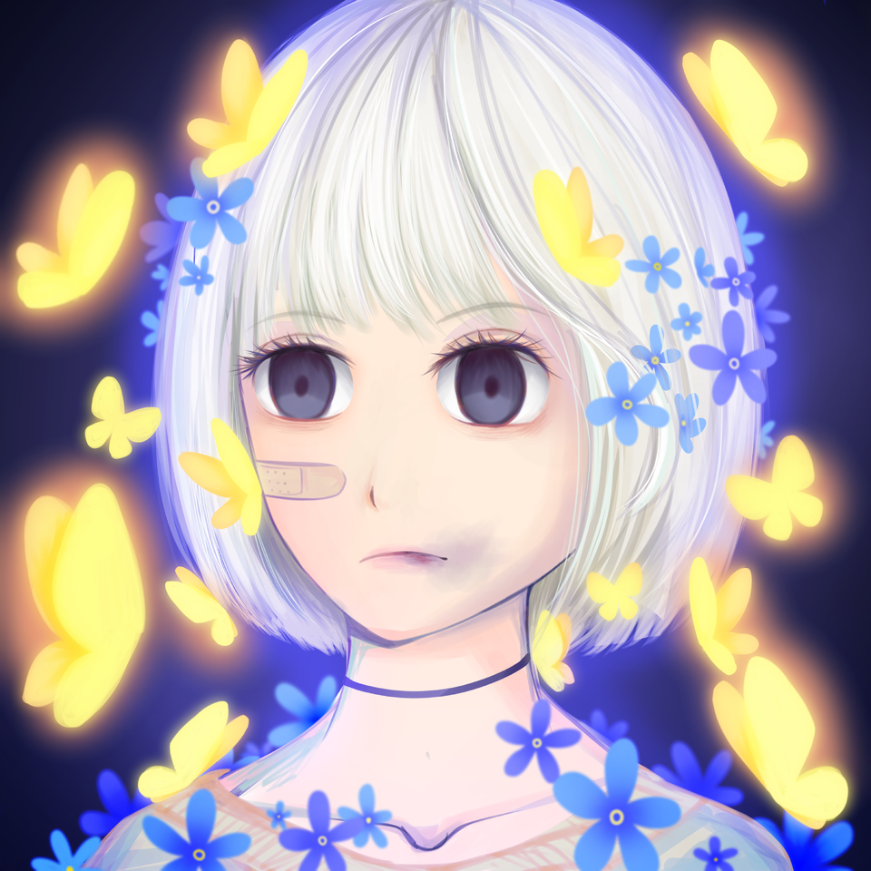 Hyacinth Illust of VioletHoshimi April2021_Flower original girl oc medibangpaint flower animegirl blue digital
