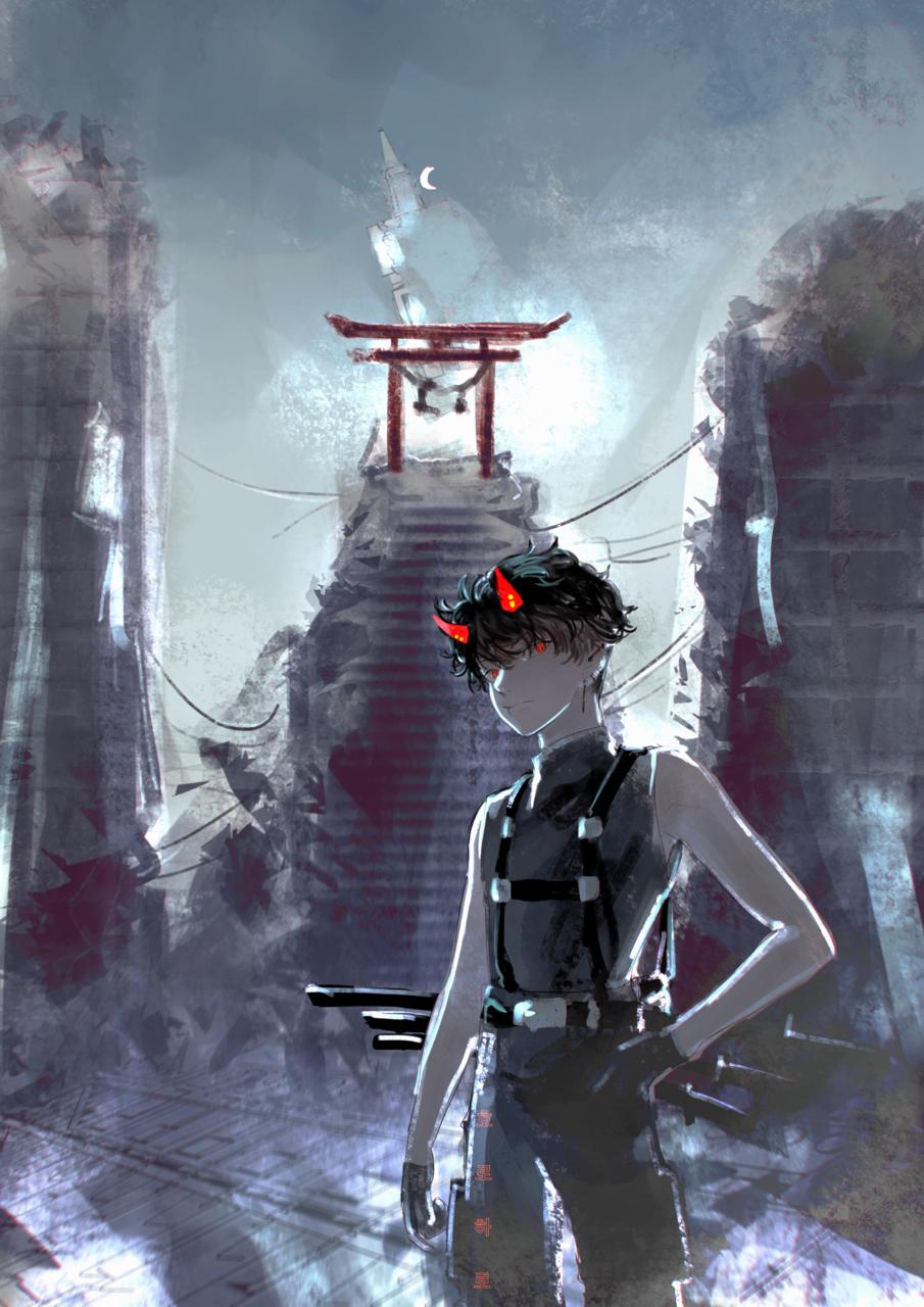 OC Illust of horoharo January2021_Contest:OC cyberpunk boy horoharo techwear oc