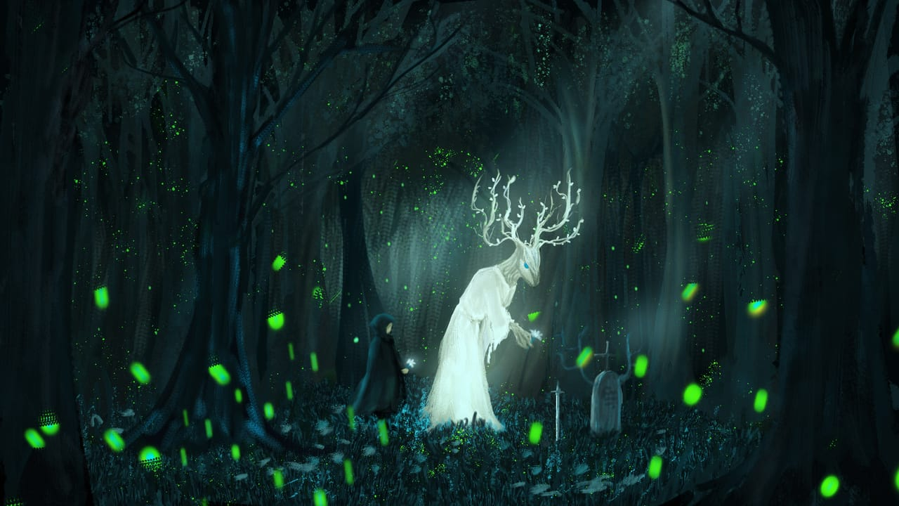 guardian of forest Illust of CHI-NAI May2021_Monochrome March2021_Creature April2021_Flower original forest flower monster illustration scenery background