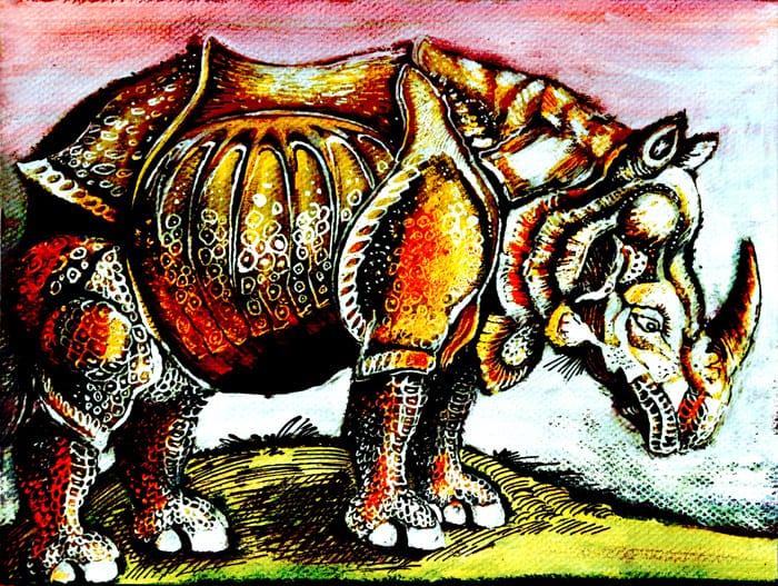 Dürer's  Rhinoceros in color  Illust of lokhnet MasterpieceFanart sketch eyes fanart oc manga original pink red medibangpaint cute