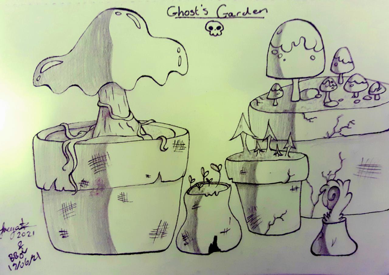 Ghost's garden Illust of BushBabyOrigins medibangpaint traditionalart collab cute plant traditional purple mushroom spooky green
