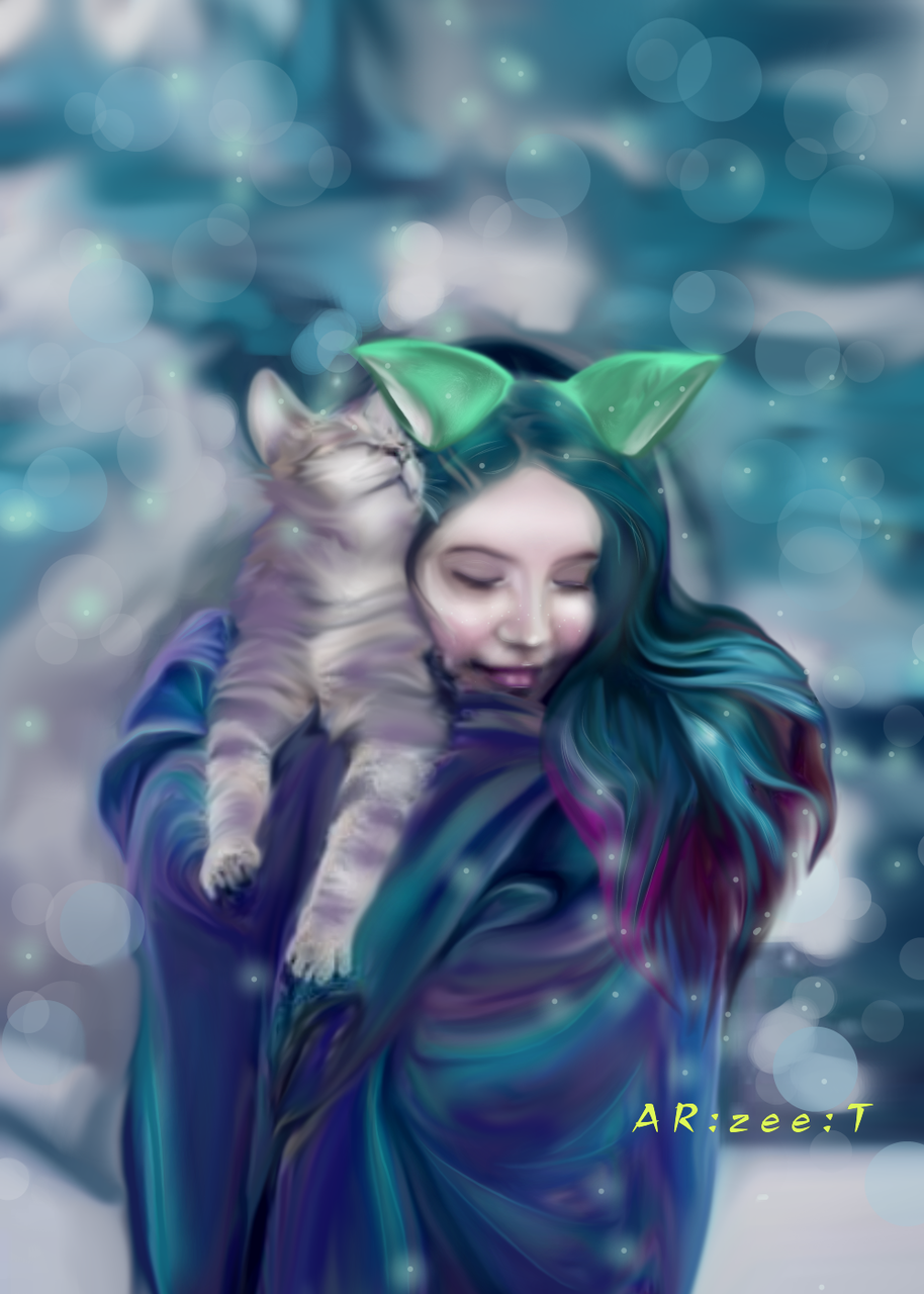Warmth Illust of Ar:Zee:T medibangpaint illustration cat contest cat_ears girl winter digital art