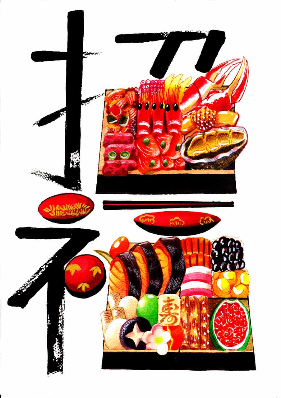 おせちの「二重箱」 Illust of おち☆よしかず(Occhiiy:オッチー☆) brag.your.country コピックイラスト おせち料理 お正月のいらすと アナログの本気 漢字 重箱