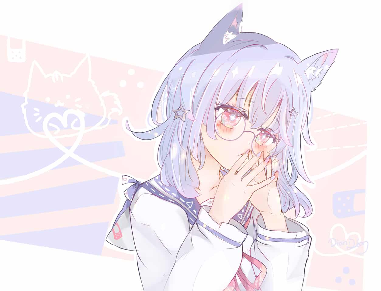 Limerence Illust of Dianain original girl 丸眼鏡 purplehair cat_ears sailor_uniform