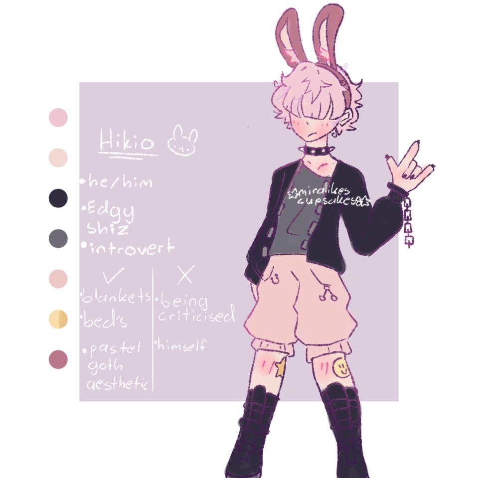 Custom adopt I got from ice feather  Illust of ☆miralikescupcakes8☆ oc Miralikescupcakes8 pink gothic pastel black boy pastelgoth adopt bunny