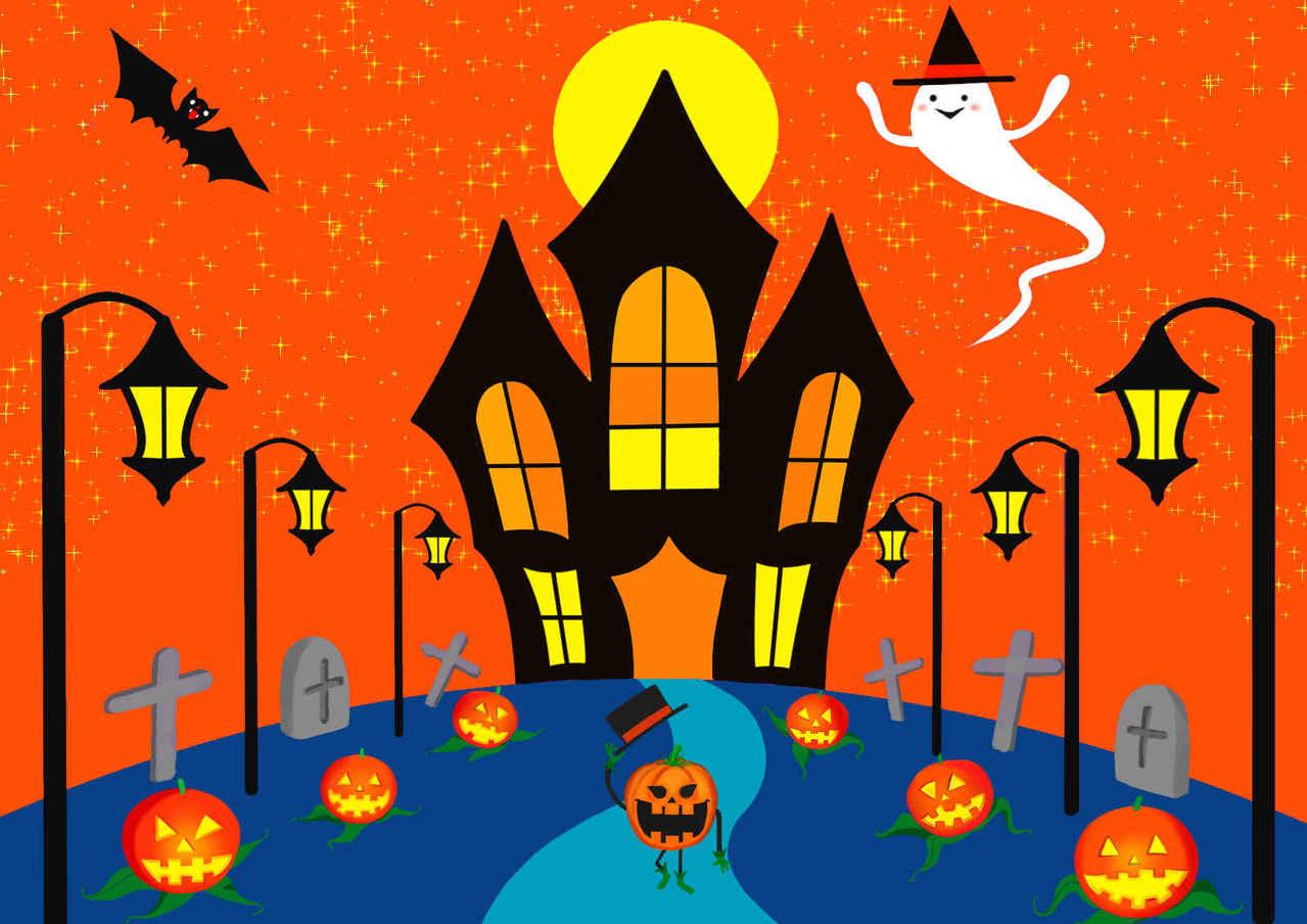 ハロウィーン4 Illust of beach st コウモリ original オバケ カボチャ 満月 Halloween お城 パンプキン シルクハット