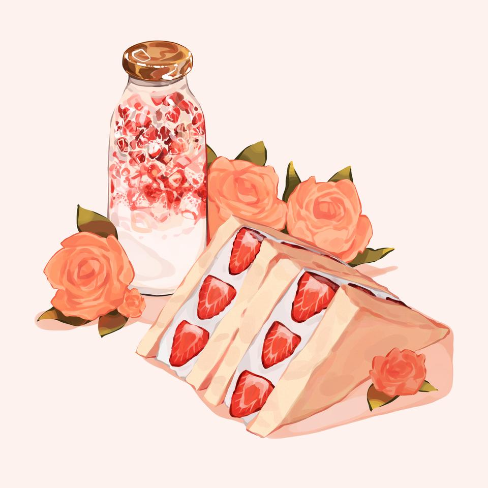 Strawberry sandwich and strawberry milk Illust of Mumechi cute drawing iPad_raffle food art iPad