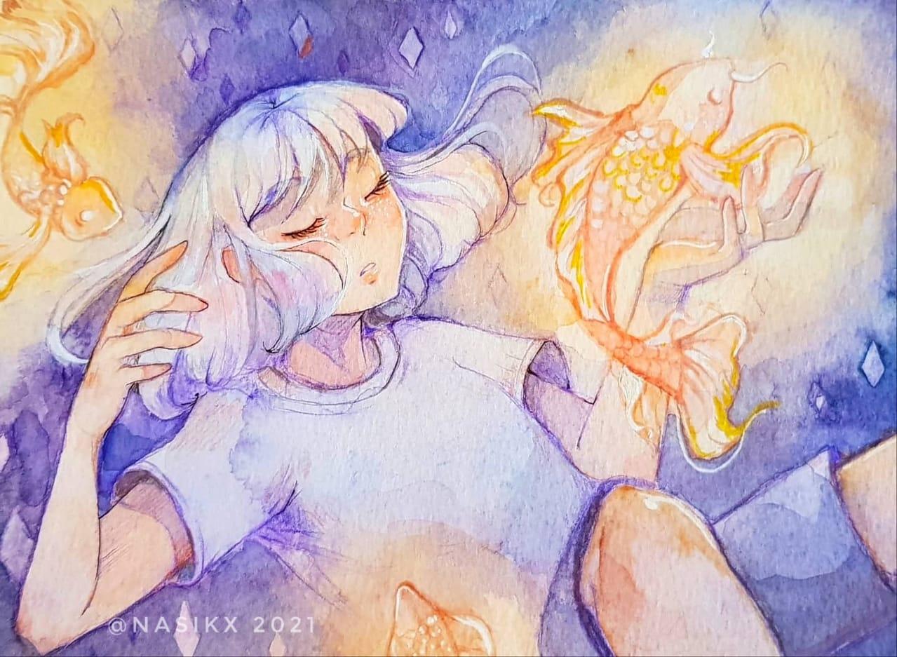 水彩 1 Illust of Nasikx Emo original 水彩画 myoc sad oc watercolor sea purple
