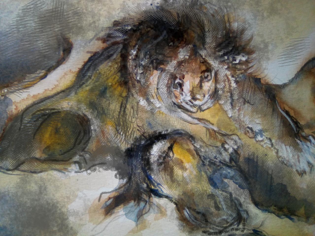 Eugène Delacroix  Leone che divora un cavallo Illust of Grandicelli Susanna MasterpieceFanart detective art acquarello Conan fan