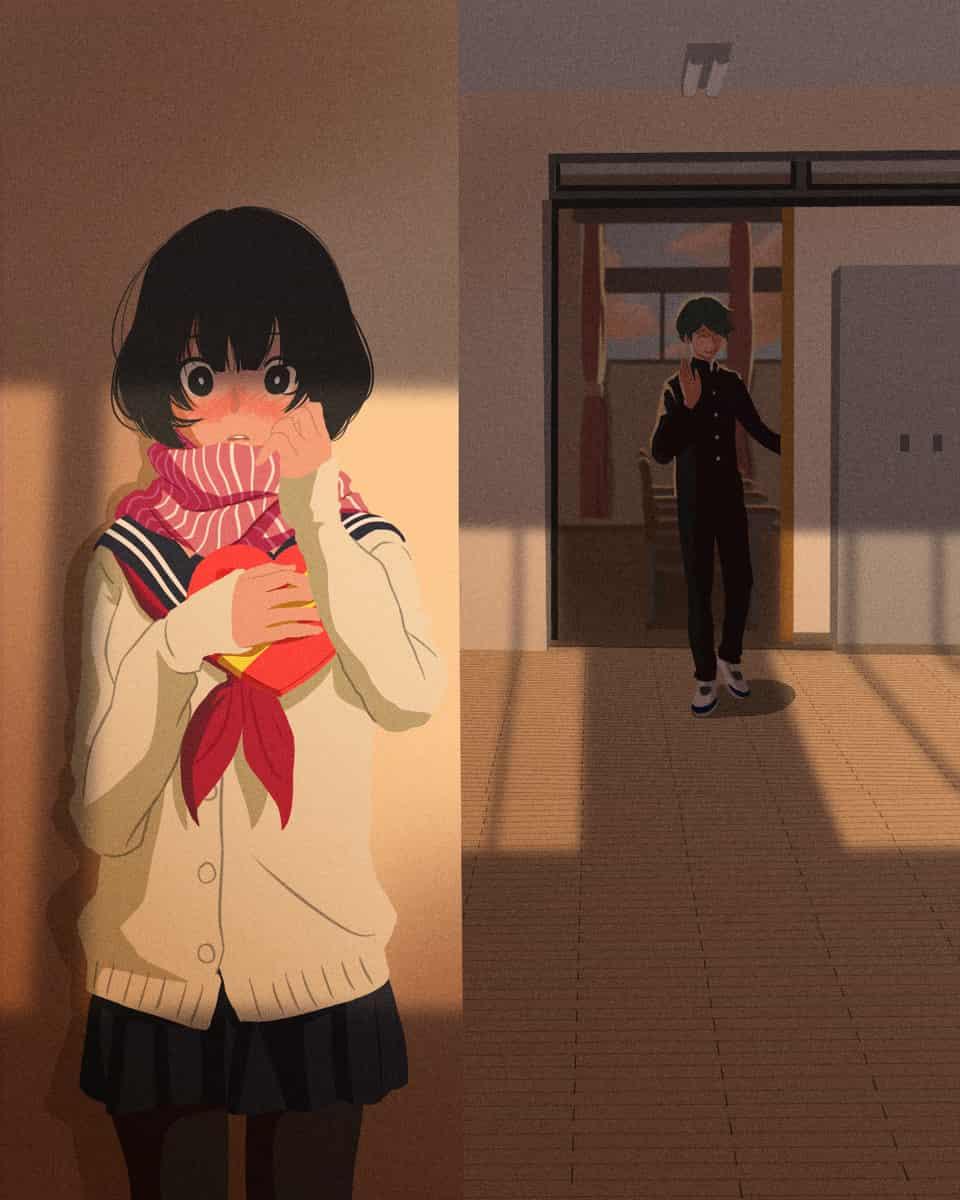 Present for Valentine's Day Illust of iLoDa Feb2020:VDAY anime girl love illustration scenery