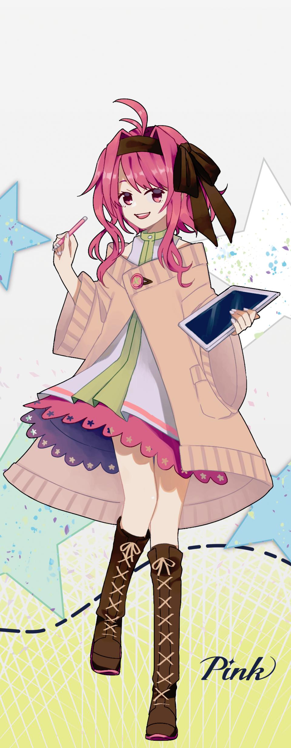 Pink Illust of あわべに PASTEL_SKETCH