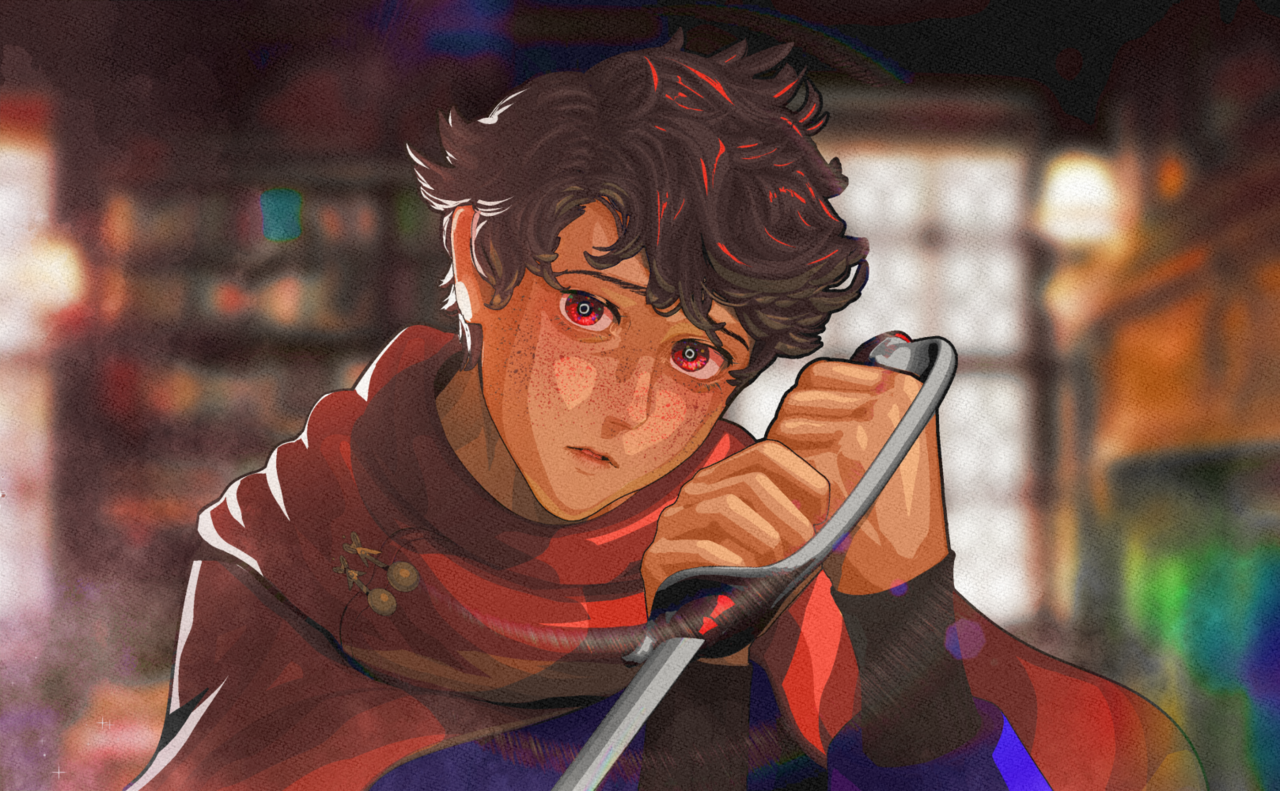 Jeriko (Commission) Illust of heresyourlight prettyboy painting handsome anime hair