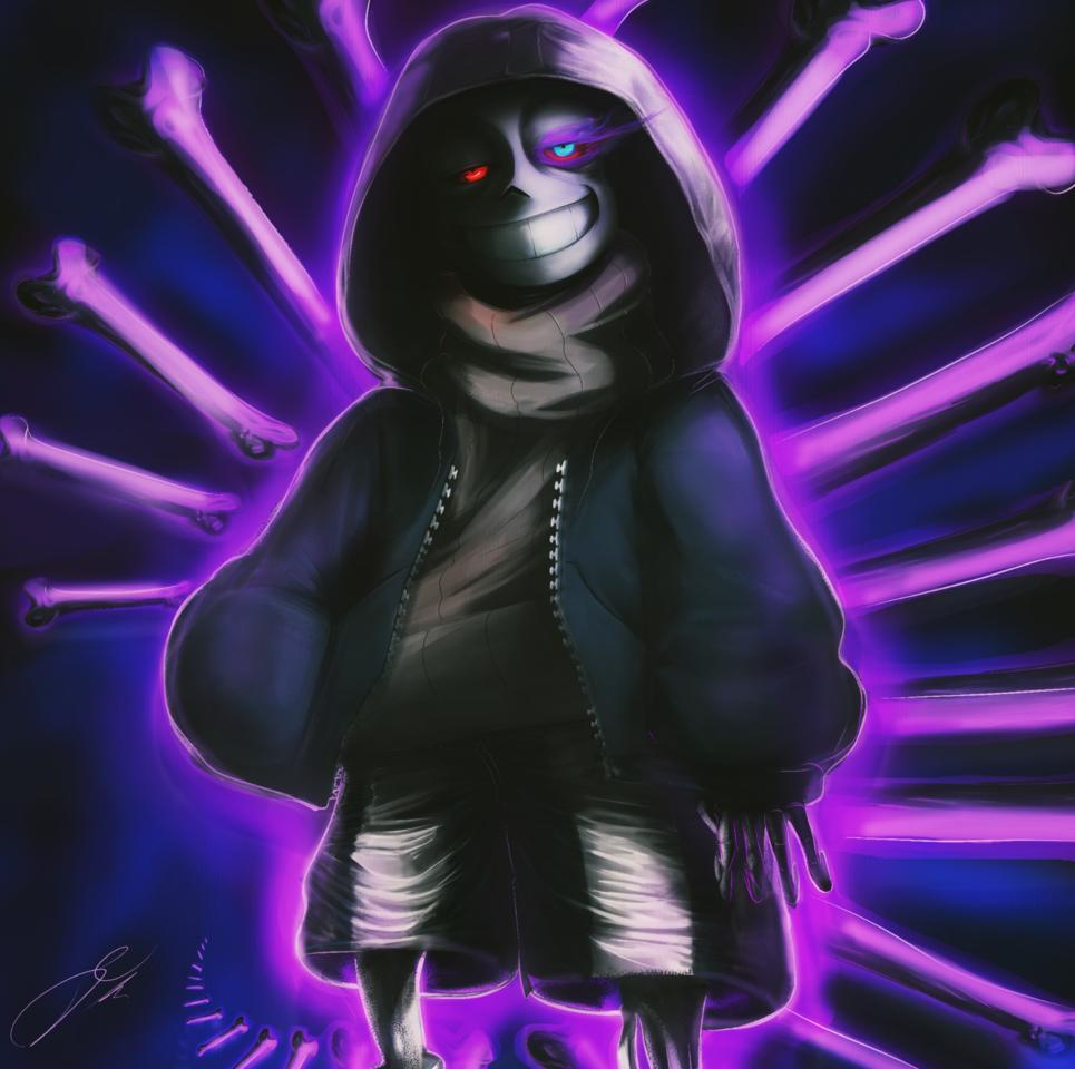 Murder Sans Illust of SuperLe fantasy medibangpaint art Mad fanart UndertaleAU creepy Dusttale TobyFox AU
