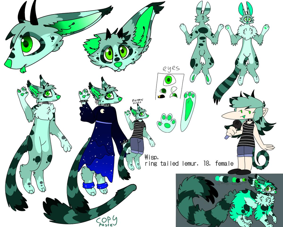 wisp ref sheet Illust of ❄Ash❄ medibangpaint oc cute lemur green wisp