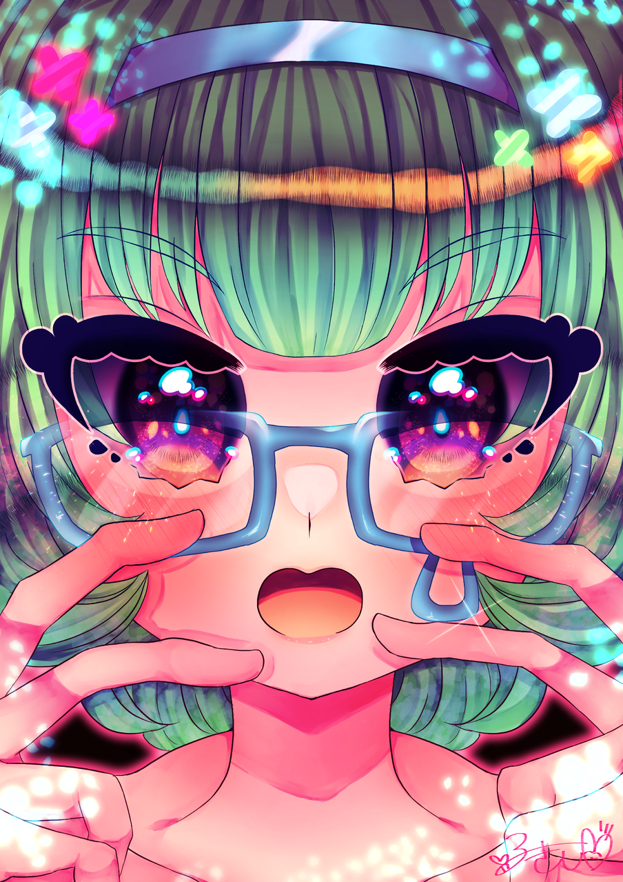 ❀❀❀ Illust of カツシカルキコ original girl oc glasses flower
