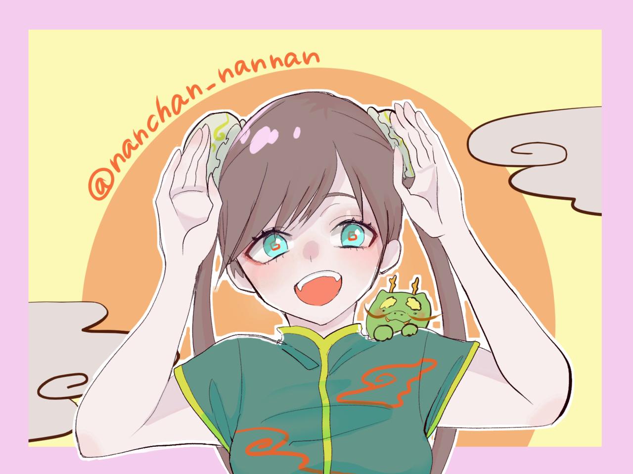 チャイナ🐲 Illust of なん氏 dragon girl おだんご digital illustration cheongsam チャイナ服