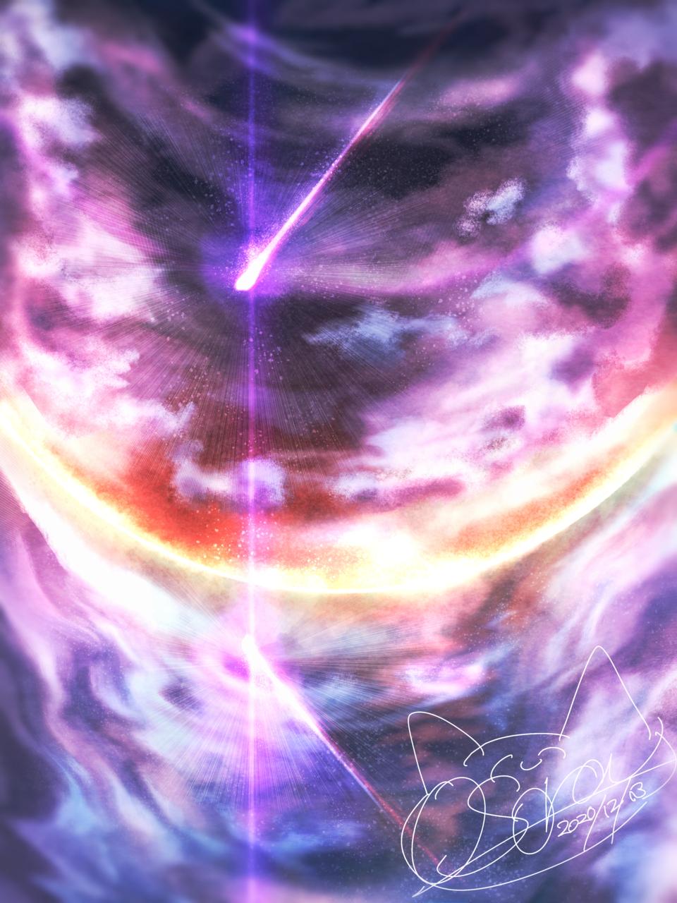 星降る朝に Illust of OSora sunset 朝焼け scenery starry_sky 彗星 集中線
