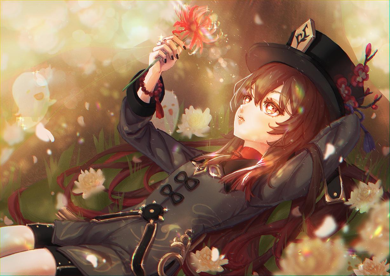 Hutao Illust of sealgege flowers girl hutao genshinimpactfanart animegirl fanart genshinimpactart GenshinImpact