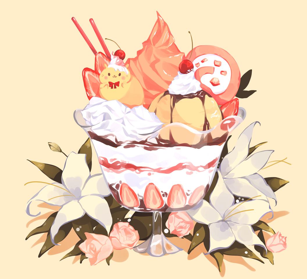 Parfait Illust of Mumechi art drawing iPad_raffle cute illustration food