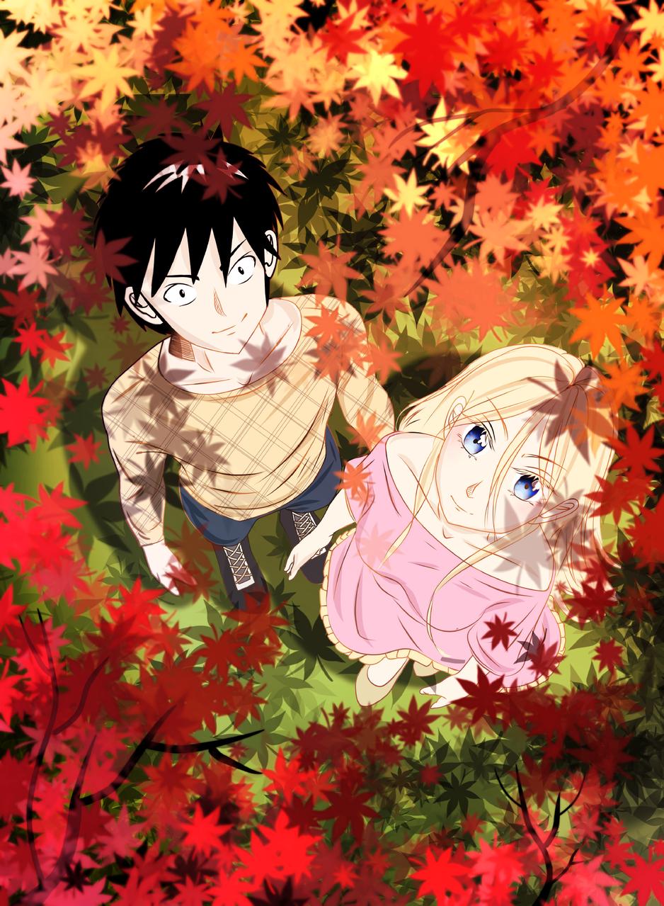 Autumn Illust of VioletHoshimi April2021_Flower medibangpaint girl love boy scenery red original flower oc yellow