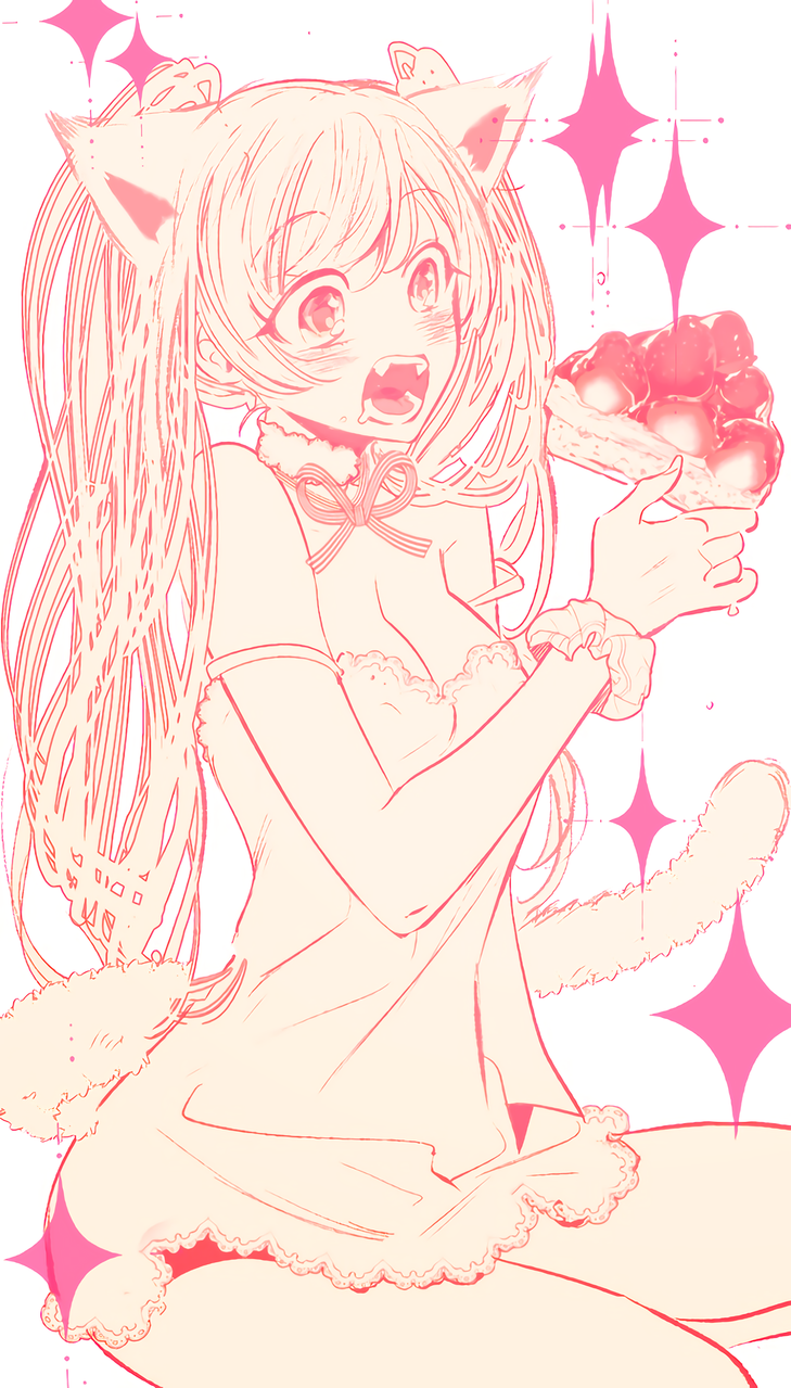 Illust of (team) DOGvsCAT_CAT tail スイーツ cat_ears twin_ponytails cake