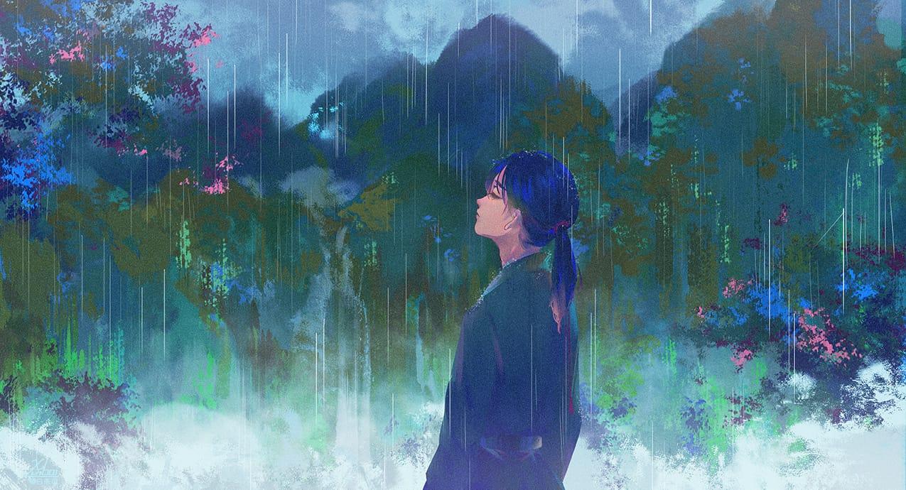 / 听雨 / Illust of 荀白茶司 光影 illustration 场景 portrait 插画,原创