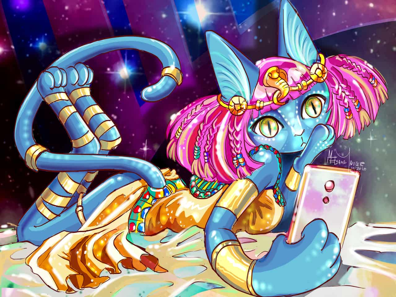 Faraona Galáctica Illust of Eliana Mauceri September2020_Contest:Furry color original Faraon originalart furry oc gatos galaxy