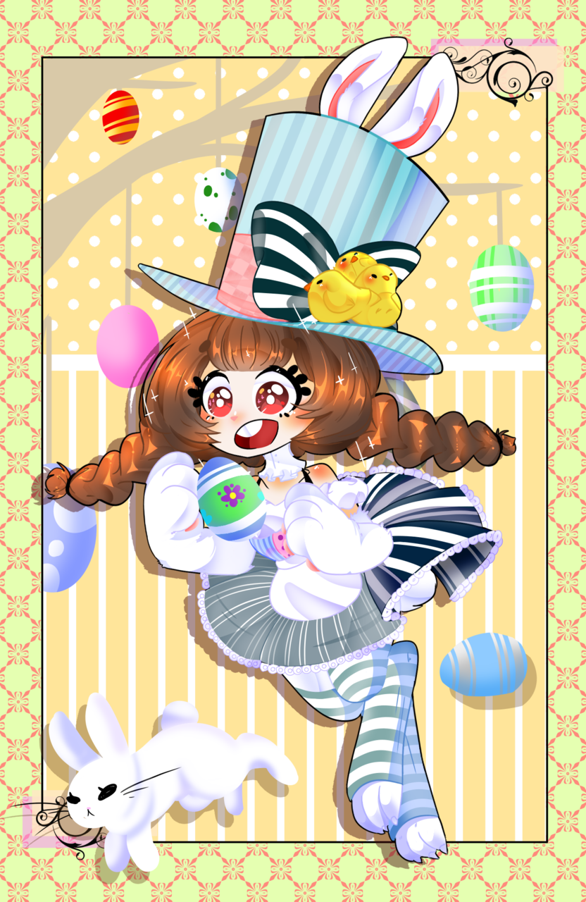 happy easter!! Illust of ドンナ96 March.2020Contest:Easter chibi girl Trace&Draw【Official】 bunny cute drawing easter digital
