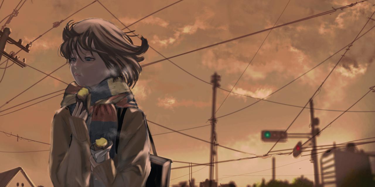 黄昏ちゃん Illust of com January2021_Contest:OC illustration ocart 癒し OL winter oc girl scenery sunset clouds