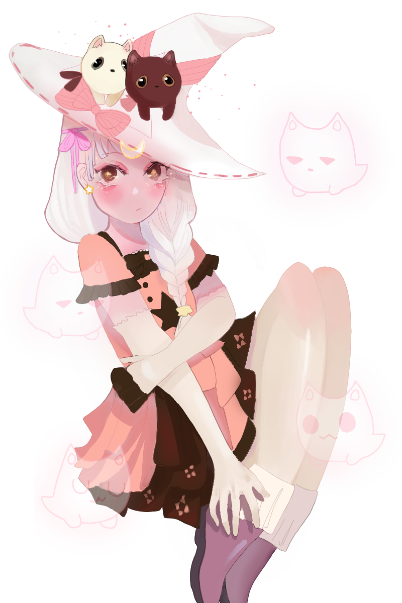 ghost cats Illust of monrura oc cat white_hair girl