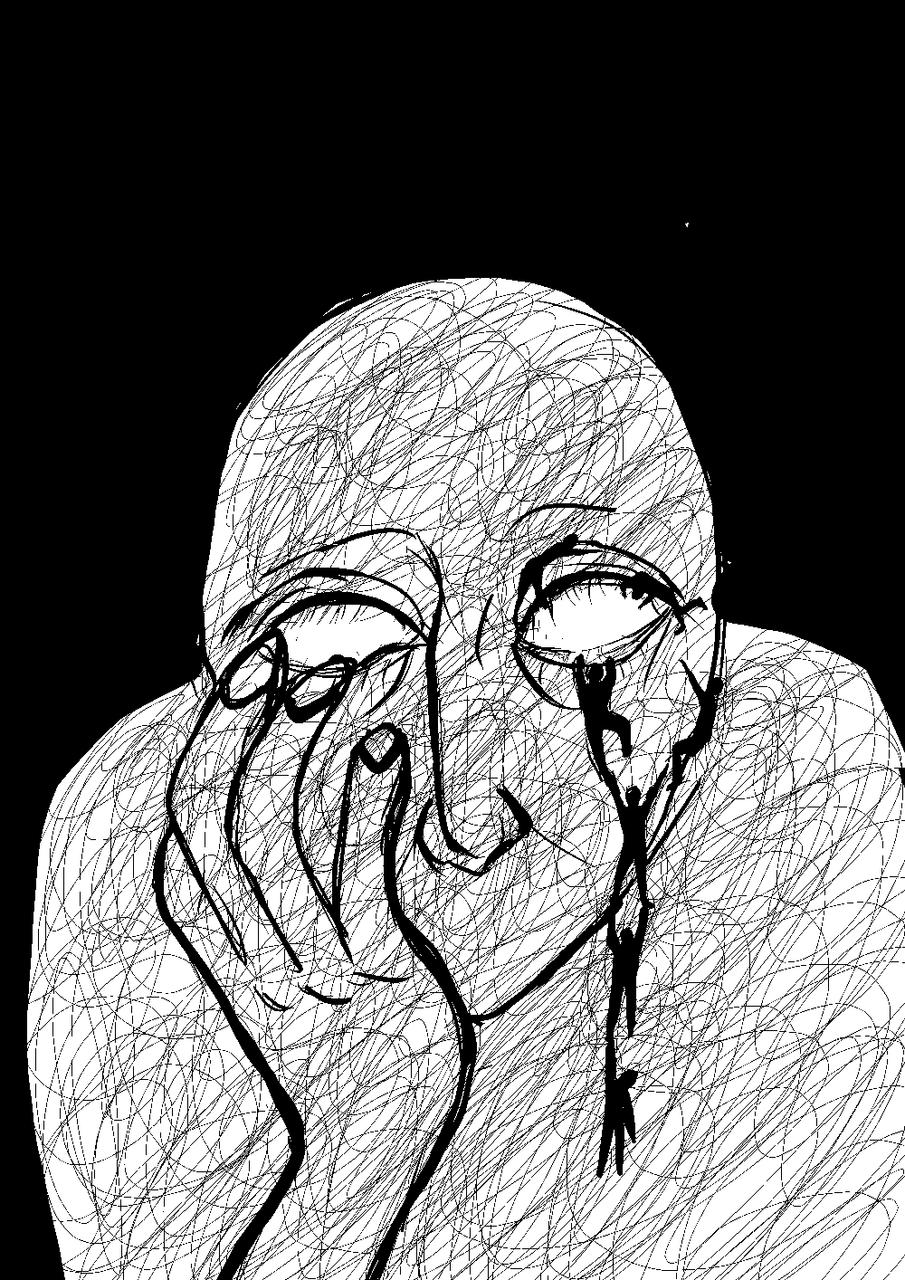 sadness Illust of Halla space ArtToPaper2017 sadness medibangpaint #blackandwhite digital LinYu