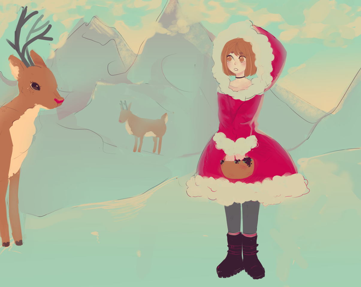 2 days late ahah 😘 Illust of peach Holiday color Reindeer Christmas palette
