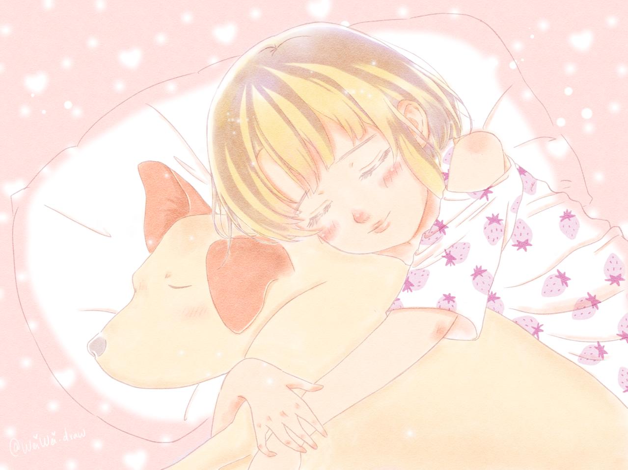 Sweet Dreams Illust of Wei Wei.draw DOGvsCAT_DOG kawaii girl Inu dog Doglover