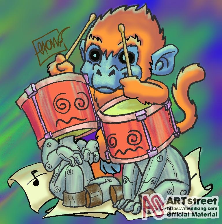 Drummer head Illust of Elton medibangpaint cartoon illustration Trace&Draw【Official】
