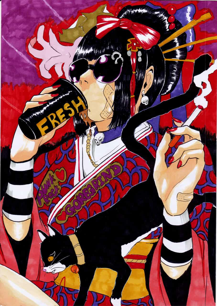 kimono hallowen girl